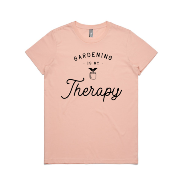 Gardening is my therapy t-shirt, pink colour
