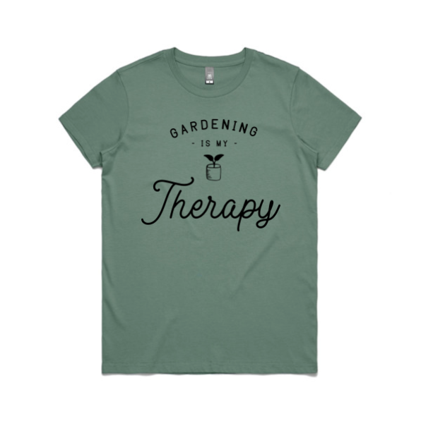 Gardening is my therapy t-shirt, green colour