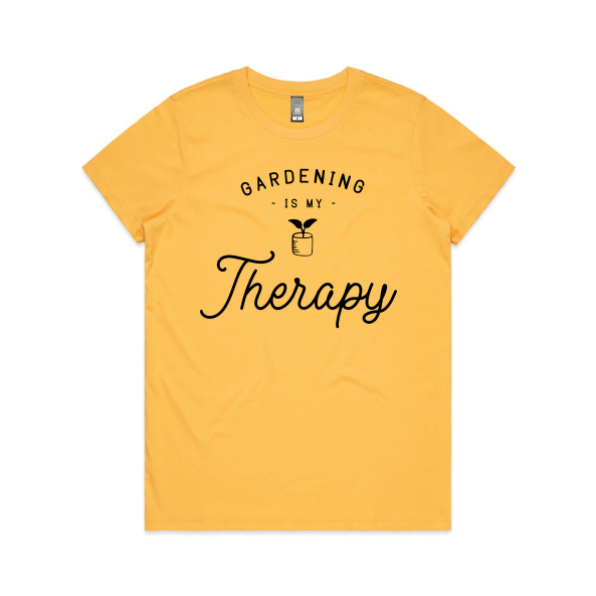 Yellow 'Gardening is my therapy' t-shirt